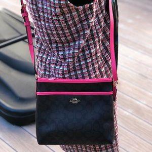 NWT Coach neon pink Signature Crossbody/ handbag